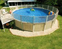 Above Ground Pool Deck Ideas Gravel surround