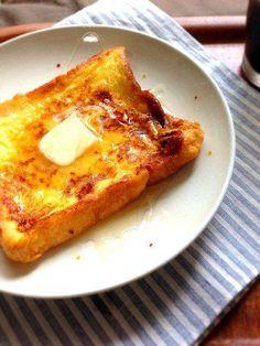 フレンチトースト_レシピ Sweets Recipes, Bread Recipes, Healthy Recipes, French Toast, Food And Drink, Cheese, Cooking, Breakfast, Cake