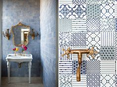 blue and white tile medley