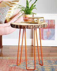 DIY Tree Slab Side Table in Redbook – Emily Henderson DIY tree slab table