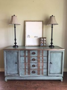What a charming statment piece this is by Live Dwell Interiors! The base was painted in GF Persian Blue Milk Paint with dark waxing. Accented with Champagne Pearl Effects and sealed with High Performance Topcoat Satin.
