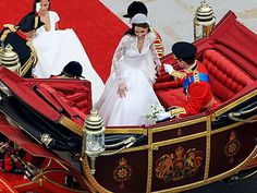 A view from over head:  Prince William and Kate Middleton in the Royal Carriage
