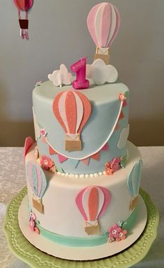 Hot air balloon cake - Decoration For Home Balloon Birthday Cakes, First Birthday Cakes, 1st Birthday Parties, Balloon Party, Baby Shower Party Favors, Baby Shower Cakes, Baby Shower Parties, 1st Birthday Cake Designs, Hot Air Balloon Cake