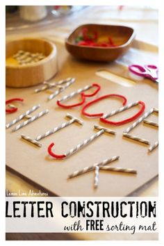 Letter formation with Straws and Pipe Cleaners: Making Connections between Straight/ Curved lines of letters: