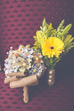 Bright yellow gerber daisy bouquet for the bride and hand made paper flower bouquet for the bridesmaids | Retro Inspired Musical Wedding With Rockabilly Flair | Photograph by BG Productions  http://storyboardwedding.com/retro-inspired-musical-wedding-rockabilly-flair/