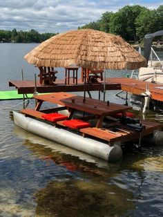What a fun project! Started out with a old paddle boat, repurposed the pontoons into this fun floating table! Floating Picnic Table, Floating Dock, Picnic Tables, Raft Building, Lake Dock, Pontoons, Boat Decor, Lakefront Property, Paddle Boat