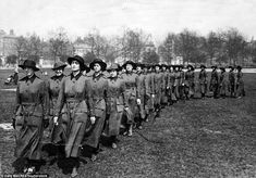Due to a shortage of male soldiers, the government called on the services of thousands of women to help in the Army, forming the Women's Army Auxiliary Corps (WAAC) in 1917. Pictured are some of its members marching in Britain on June 1, 1917, before leaving for France