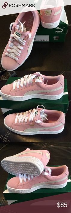 Brand new pink and white suede Puma Absolutely love these sneakers but they seem to be a bit narrow in the width which causes them to be a bit tight. I usually wear a 7-71/2 shoe and these fit well other than the width. They are a 6 in kids which would be 8 in women's. Puma Shoes Sneakers