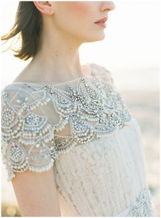 Beading love - Gown: Marchesa from Gabriella Bridal - Stunning oceanside inspiration shoot by Bespoke only (Design and Styling) Judy Pak (Photography) - via Magnolia Rouge Bridal Shoot, Wedding Shoot, Bridal Gowns, Seaside Wedding, Mod Wedding, Dream Wedding, Wedding Trends, Wedding Designs, Wedding Ideas