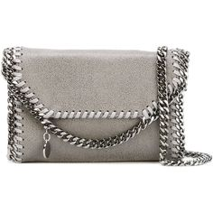 Stella Mccartney Tiny Falabella Crossbody Bag ($380) ❤ liked on Polyvore featuring bags, handbags, shoulder bags, grey, grey leather purse, genuine leather shoulder bag, genuine leather handbags, crossbody handbags and chain shoulder bag