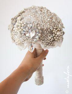 Diamante Brooch Bouquet Bridal Bouquet Wedding by feltdaisy