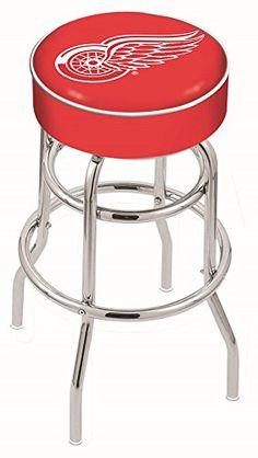 25″ L7C1 – 4″ Detroit Red Wings Cushion Seat with Double-Ring Chrome Base Swivel Bar Stool by Holland Bar Stool Company – Detroit Sports Outlet