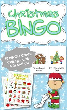 Christmas BINGO: Includes 30 unique BINGO Cards, 1/2 page printable calling cards and a slideshow for use on an interactive whiteboard or with a projector. {Created by Adapting for Autism}