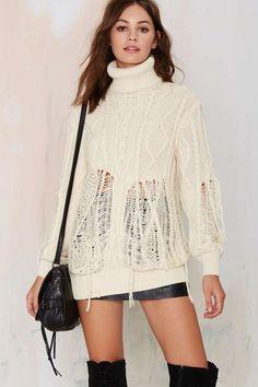 Nasty Gal Let's Shred Turtleneck Sweater - Sale