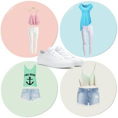 4 outfits. One pair of shoes by ricquiarchapple on Polyvore featuring polyvore fashion style Miss Selfridge VILA ONLY Zara Converse