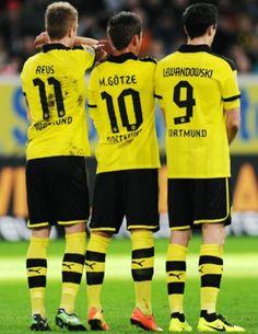 "Borussia Dortmund, ""The Big Three"" ~ Reus, Gotze & Lewandowski German Football Players, Sport Football, Fifa, Messi Team, Pier Paolo Pasolini, Legends Football, Soccer Poster, Robert Lewandowski, Three Boys"