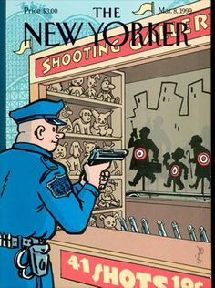 March 8, 1999 -- Spiegelman mocks the NYC cops who fired 41 bullets into Amadou Diallo, an unarmed (and, as it turned out, innocent) Guinean immigrant. The mayor denounced it. 250 officers picketed the New Yorker offices