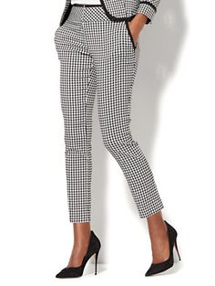 Shop 7th Avenue Pant - Slim-Leg - Modern - Pull-On - Gingham Print. Find your perfect size online at the best price at New York & Company.
