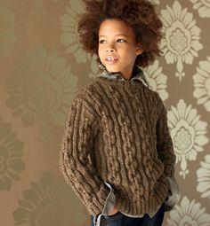 Modèle pull col rond 100% laine - Modèles tricot enfant - Phildar