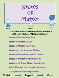 STATES OF MATTER Unit Pack. 29 pages of experiments, activities, posters, and a mini book. SOLID, LIQUID, GAS.