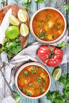 This amazing Mexican Shrimp Soup features super tender shrimp meatballs swimming in a flavorful spicy tomato broth. So easy and quick to make! | cookingtheglobe.com