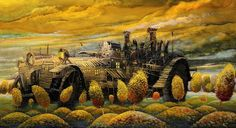 Awesome The whole world on the airship: fantasy vehicles and machines on the colorful canvases Unusual News, Bizarre News, Weird Pictures, Fantasy Inspiration, Weird Facts, Artist At Work, Surrealism, Event Planning, Monster Trucks