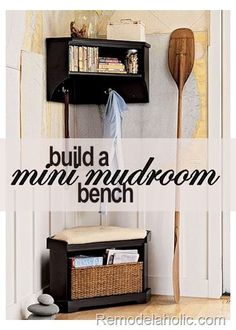 Build this corner storage bench for your mini mudroom!   table saw (for cutting miter edges on long edges) miter saw, circular saw or hand saw (for cutting miter edges on small pieces) jig saw pencil compass (to layout the curves on the front base) nail gun or hammer nail set putty knife sander block sand paper paint paint supplies