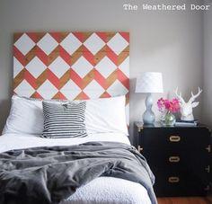 DIY painted geometric headboard from The Weathered Door.
