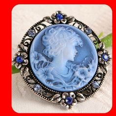 New Flower Vintage Style Cameo Crystal Charming Victorian Pin Brooch Blue   eBay