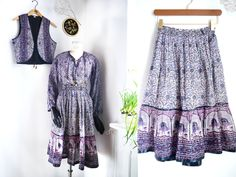 SOLD:::::::: 70s Indian cotton gauze outfit /3 pieces Blouse Vest Skirt / Bohemian silver print/ ethnic India peacock festival Lavender fields original by SuitcaseInBerlin on Etsy