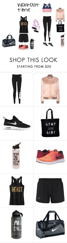 """""""workout"""" by martinc22 ❤ liked on Polyvore featuring NIKE, Yves Saint Laurent, ban.do, Under Armour and adidas"""