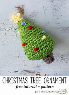 Crochet this easy decorated tree amigurumi christmas ornament from my free crochet christmas ornaments roundup!