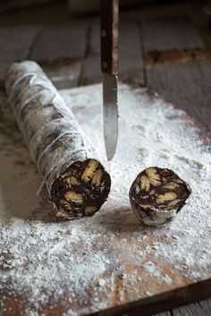 Chocolate salami -- It's basically a fridge-set cake that's made up of chocolate, butter, crushed biscuits/cookies and rum. It's rolled into a log and sliced; giving the impression of salami.