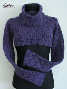 Ravelry: Bolero sweater with high collar pattern by Linda Skuja; This would be pretty as a full sweater! Link to guidelines Crochet Tank Tops, Crochet Blouse, Knit Dress, Knit Crochet, Crochet Sweaters, Crochet Shrug Pattern, Crochet Shawl, Crochet Patterns, Crochet Shrugs