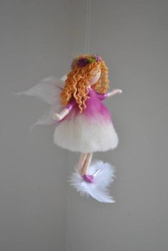 Purple fairy felted doll wool Ornament : Purple flower fairy on the feather - MagicWoolThis is a Waldorf inspired piece made of wool by the needle-felting technique. Needle Felted Ornaments, Felt Ornaments, Wool Dolls, Felt Dolls, Diy Arts And Crafts, Felt Crafts, Felt Angel, Fairy Crafts, Felt Fairy