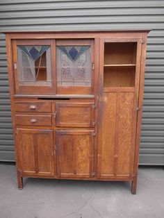 Antique Vintage Timber Leadlight Kitchen Dresser Metal Meat Safe Pantry Adelaide
