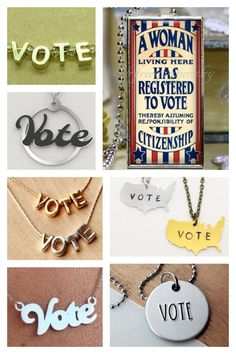 Vote Necklaces Get Out The Vote, Right To Vote, Voting History, Name Blocks, Patriotic Party, Letter Necklace, Block Lettering, Fundraising, Necklaces