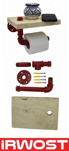 IRWOST - l'Original – Dérouleur de papier toilette finition acier poli. Surmonté d'une tablette en pin massif lasuré incolore. Simple et efficace facile à poser ce porte papier WC en acier et fonte est réalisé en tuyaux et raccords de plomberie. Un dérouleur qui sera parfait pour vos commodités. Finition epoxy rouge tablette pin Fabriquez, personnalisez, colorez votre déco :)