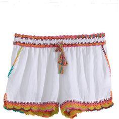 CALYPSO St. Barth Aldea Crochet Trim Linen Short ($150) ❤ liked on Polyvore featuring white cc and calypso st. barth