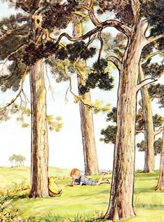1950's Vintage Print, Pooh and Christopher Robin reading in the Hundred Acre Wood