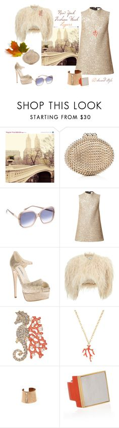 """""""Gold & Coral"""" by southernreef ❤ liked on Polyvore featuring WALL, Christian Louboutin, Victoria Beckham, Yves Saint Laurent, Brian Atwood, Temperley London, Kenneth Jay Lane, Aurélie Bidermann, House of Harlow 1960 and Isharya"""