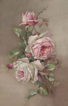 Christie Repasy Designs One of A Kinds Christie Repasy Designs One of A Kinds Art Floral, Vintage Prints, Vintage Art, Vintage Rosen, Decoupage Vintage, Rose Art, China Painting, Botanical Art, Fabric Painting