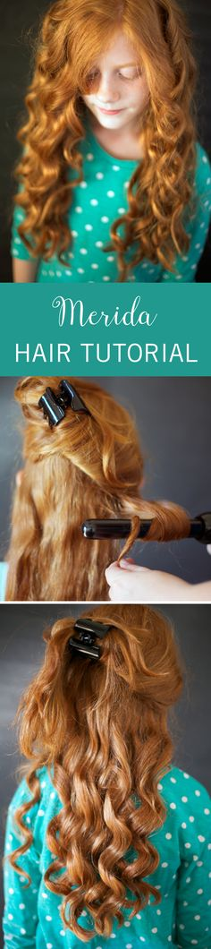 This Disney Princess hairstyle is perfectly royal. Your little one will love rocking this curly style to match her Merida costume or just when dressing up for fun. #hairtutorial