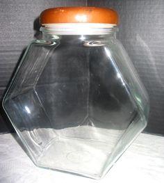 Vintage Clear Glass Hexagon Tilt Storage Candy Jar w Wood Lid & Plastic Stopper #Unbranded