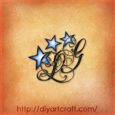 monogram stars tattoo lettering drawing LG