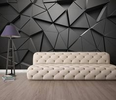 Solid Geometric Abstract Gray Triangle Background Black Design Wallpaper (With images) Wall Painting Living Room, 3d Wallpaper Living Room, Living Room Paint, Living Room Bedroom, Living Room Wall Designs, Grey Triangle Wallpaper, Black Design Wallpaper, Triangle Background, Triangle Art