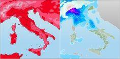 La differenza delle due carte meteo. A sinistra le temperature massime previste giovedì 18 Aprile, a destra le precipitazioni previste sabato mattina in Italia.