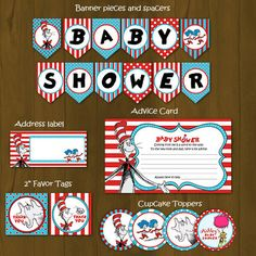 Throw an all-out Dr. Seuss themed baby shower with these exciting and complete DIY printable Cat in the Hat package that coordinates with my Cat in the Hat invitation designs! http://splashboxprintables.storenvy.com/products/292208-dr-seuss-cat-in-the-hat-baby-shower-invitation    21 DIY PRINT...