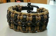 Stitched Hex Nut Paracord Bracelet With Two Black Adjustable Shackle