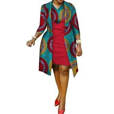 African cotton wax Print Dress and Suit Coat for Women - African Fashion Dresses Short African Dresses, African Fashion Designers, Latest African Fashion Dresses, African Print Dresses, African Women Fashion, African Dress Styles, African Party Dresses, African Print Clothing, African Prints